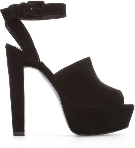 Suede Leather High Heel And Platform Sandal