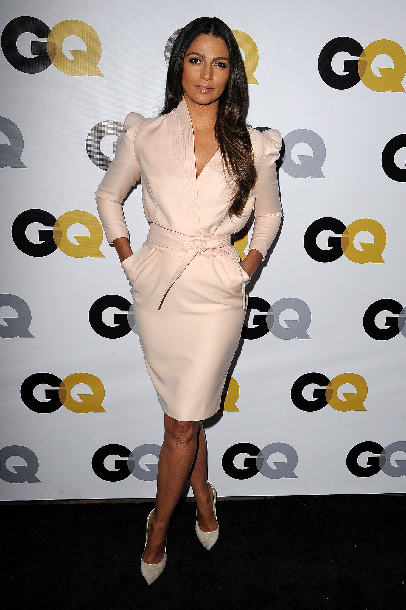 Camila Alves wore a cream-colored dress to the GQ Men of the Year party.