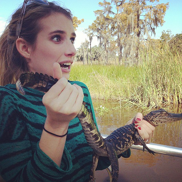 "Emma Roberts was ""terrified"" while on a swamp tour. Source: Instagram user emmaroberts6"