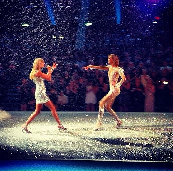 From one leggy lady to another, Taylor Swift and Karlie Kloss made music on the runway. Source: Instagram user karliekloss