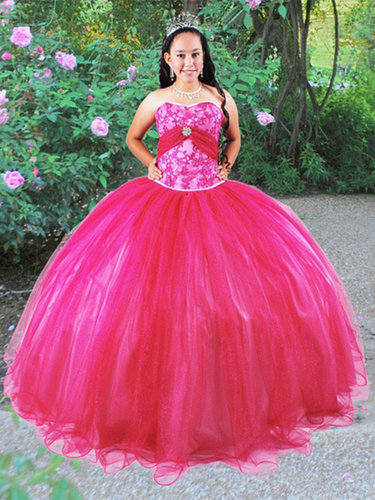 BallGown Sweetheart Tulle Satin Floor-length Fuchsia Appliques Quinceanera Dress at sweetquinceaneradress.com