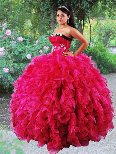 BallGown Strapless Organza Floor-length Fuchsia Tiered Quinceanera Dress at sweetquinceaneradress.com