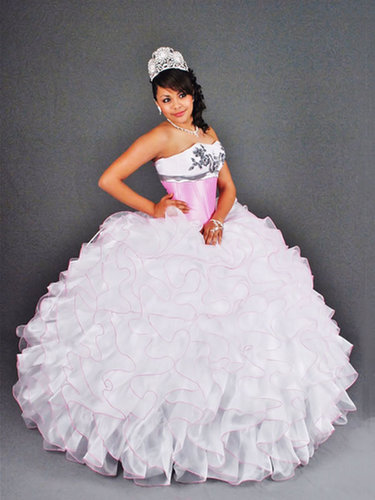 BallGown Sweetheart Organza Floor-length White Tiered Quinceanera Dress at sweetquinceaneradress.com