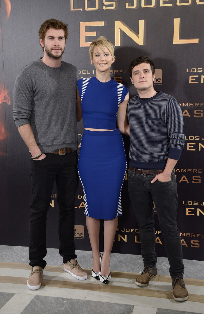 Jennifer Lawrence linked up with Liam Hemsworth and Josh Hutcherson.