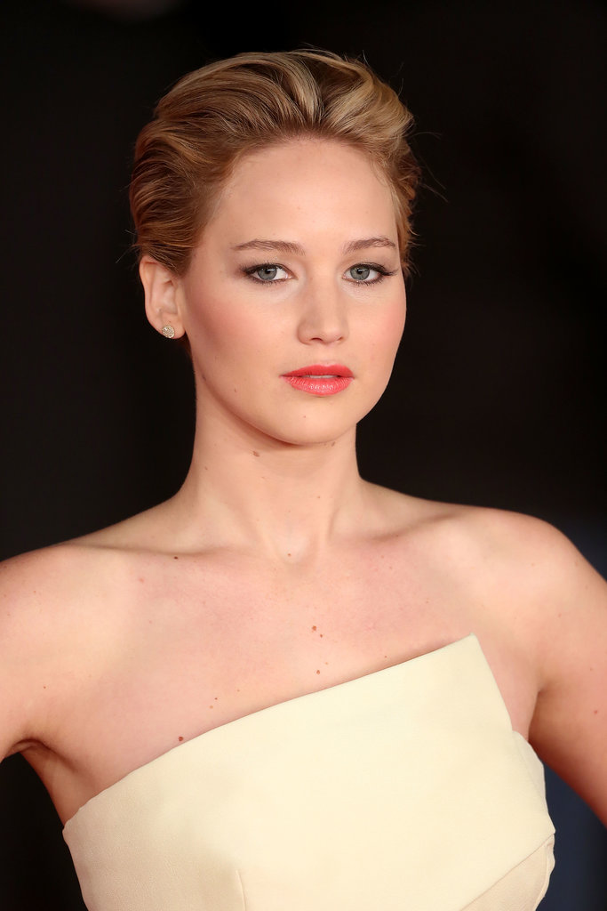 At the Rome premiere, Jennifer Lawrence opted for a glamorous, upswept 'do.