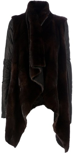Rick Owens asymmetric fur coat