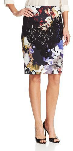 Rachel Roy Women's Royal Flowers Print Combo Pencil Skirt