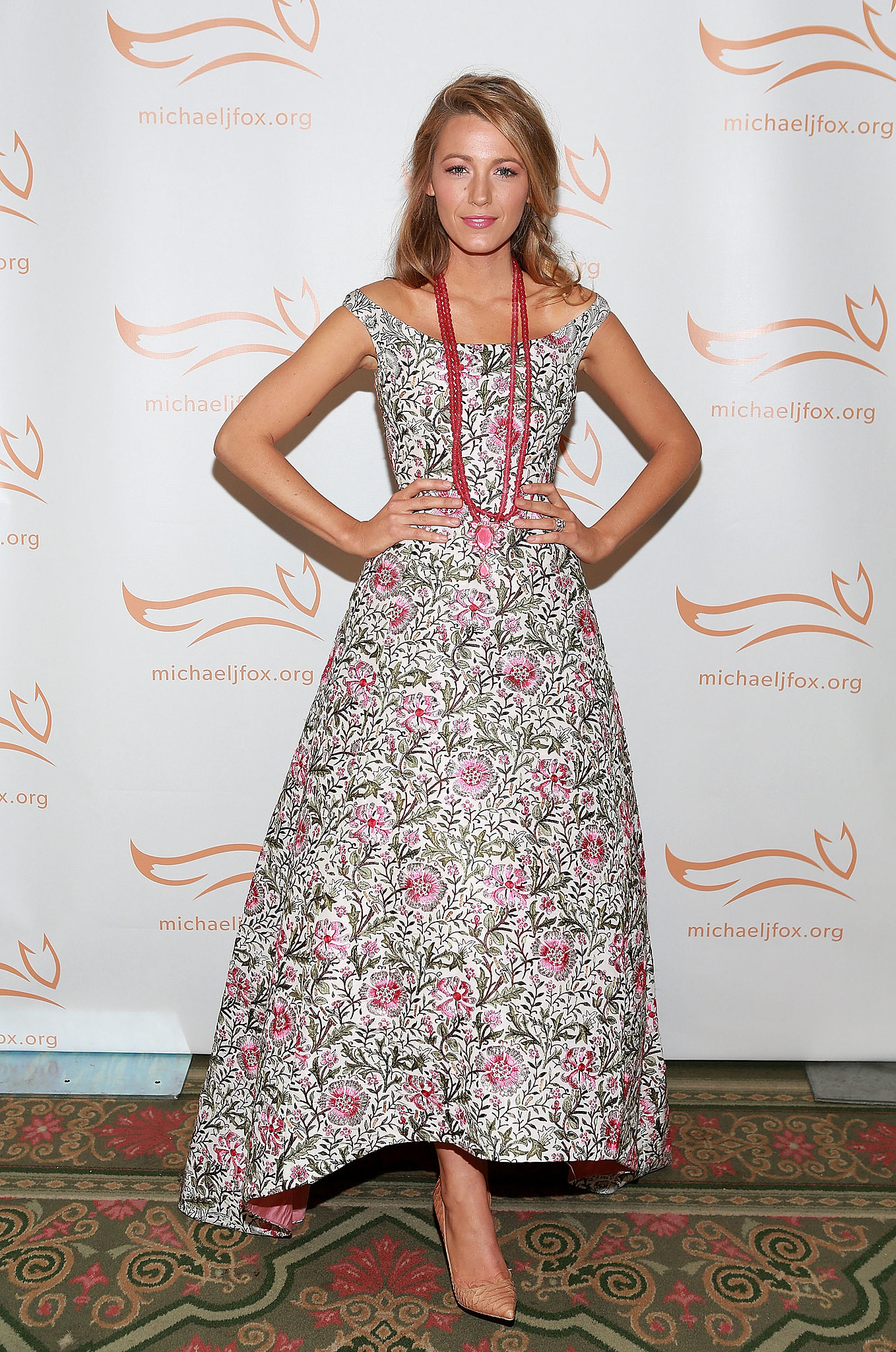 Sequins don't have to be sexy. In the case of Blake Lively's Oscar de la Renta floral gown at the A Funny Thing Happened on the Way to Cure Parkinson's, they were feminine and pretty.