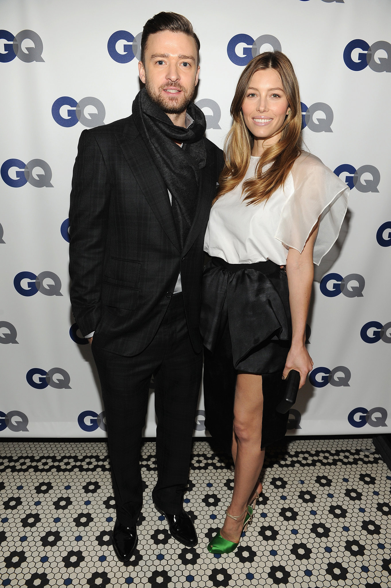 Justin Timberlake had the support of his wife, Jessica Biel, when he was  celebrated at the GQ Men of the Year dinner in NYC on Monday.