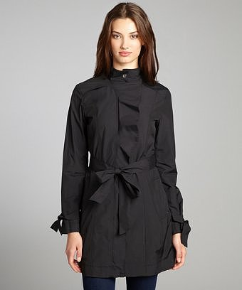 Cole Haan black ruffle detailed belted rain jacket