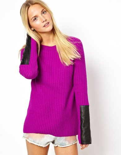 ASOS Chunky Sweater With Leather Look Sleeve