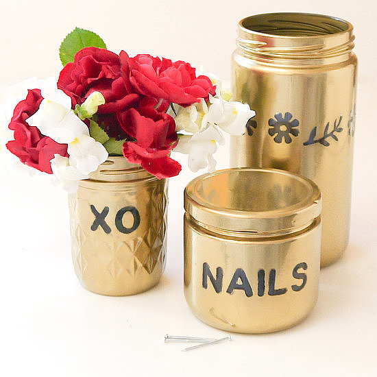 Gold Spray-Painted Jars