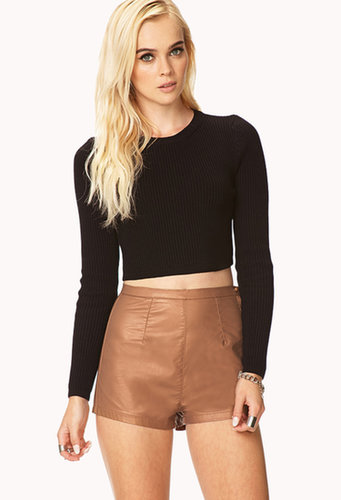 FOREVER 21 Casual High-Waisted Faux Leather Shorts