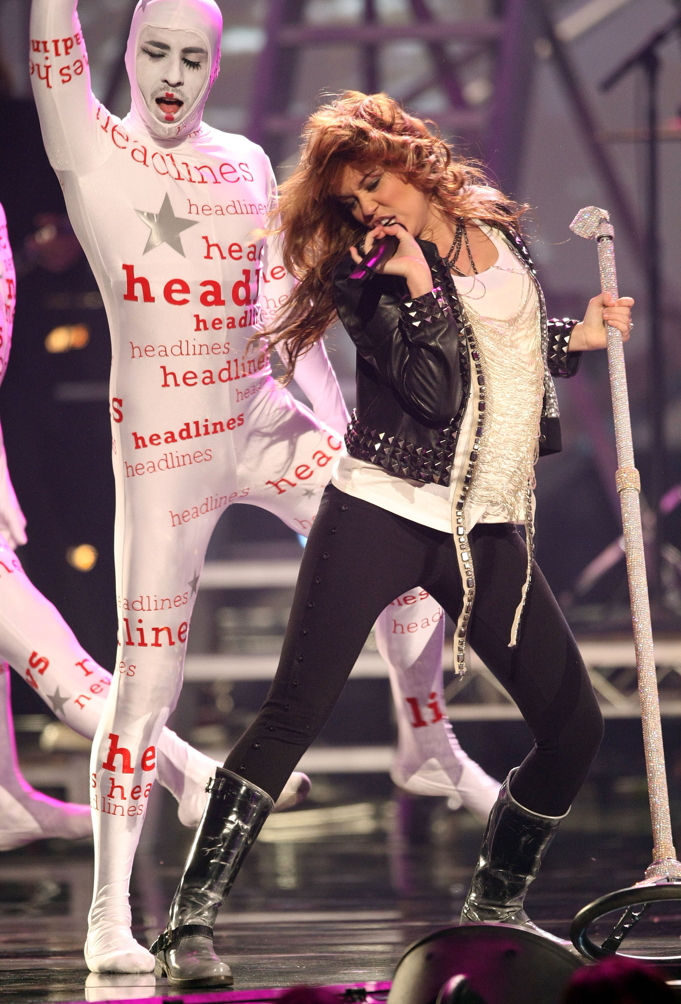 Miley Cyrus wore studded leather on stage in 2008.