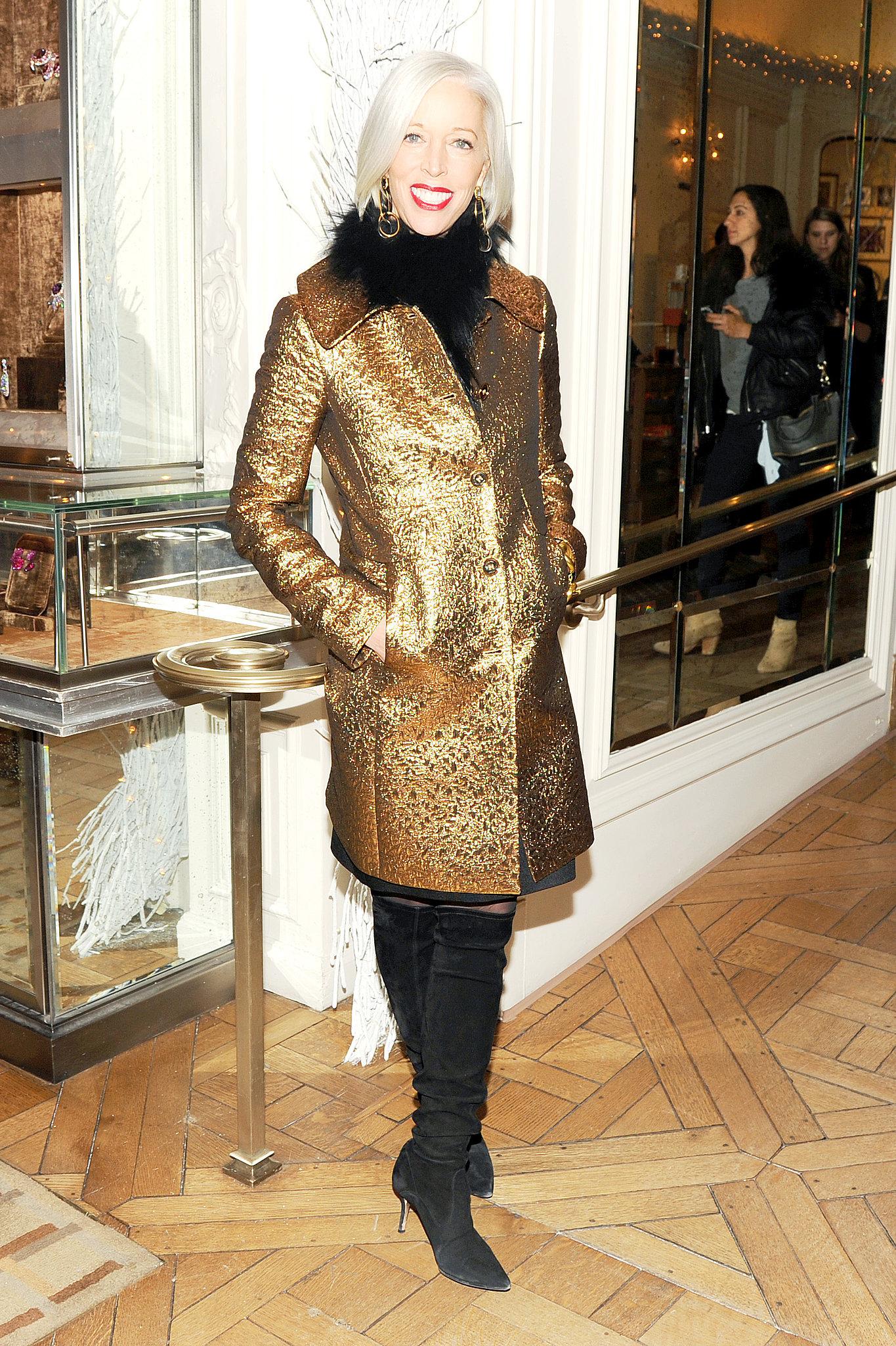 Linda Fargo at Bergdorf Goodman's Fifth Avenue holiday windows unveiling.