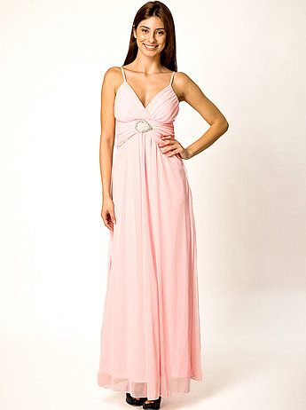 Pink/Turquoise Diamente Buckle Evening Maxi Dress | Women Clothes
