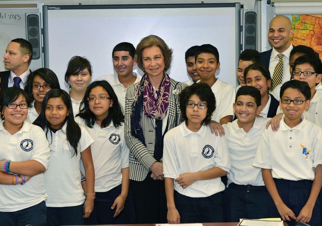 Spanish Queen Sofia visited a middle school in the Bronx during a visit to NY on Wednesday.