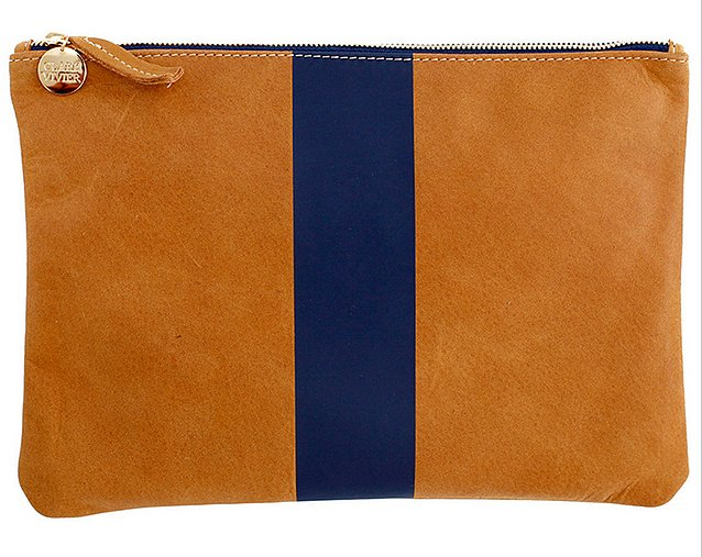 I've had my eye on Clare Vivier's flat clutch ($195) for months now, and I'm especially loving the preppy look of the navy-striped version in caramel leather. It comes in a huge variety of color and pattern combinations, and while it looks great on its own, the clutch could also be thrown into a larger work bag to store the essentials. — Laura Marie Meyers, assistant news editor