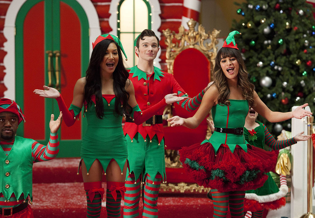 Santana (Naya Rivera), Kurt (Chris Colfer), and Rachel (Lea Michele) perform in Glee's holiday episode, airing Dec. 5 on Fox.
