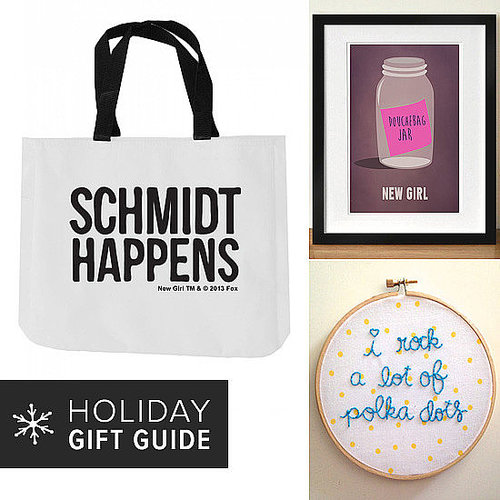 "A ""Schmidt Happens"" tote bag, Jessica Day-inspired embroidery, and a full-season DVD — indulge the New Girl fan on your holiday shopping list with these creative gift ideas."