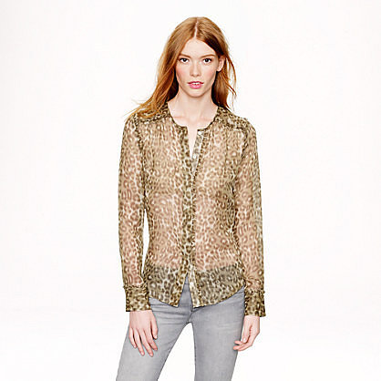 Collection ruffle-trim chiffon blouse in abstract animal print