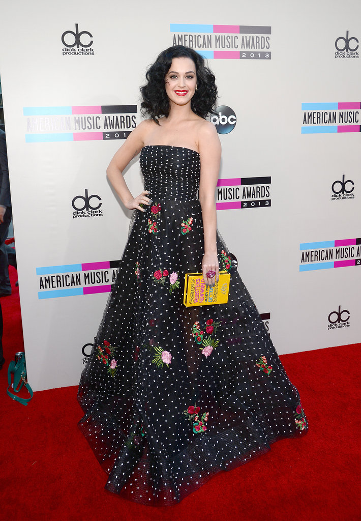 Katy Perry's polka-dot and floral appliqué Oscar de la Renta concoction offered the perfect balance of edge and elegance.