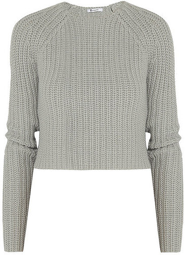 T by Alexander Wang Chunky-knit cotton-blend cropped sweater