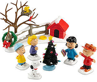Department 56 Collectible Figurine, Peanuts Village Merriest Christmas Set