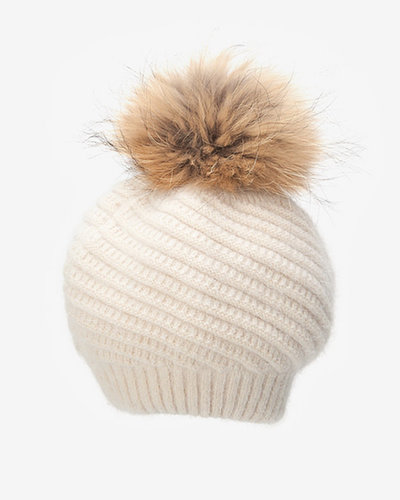 Annabelle New York Fur Pom Pom Knit Hat: Cream