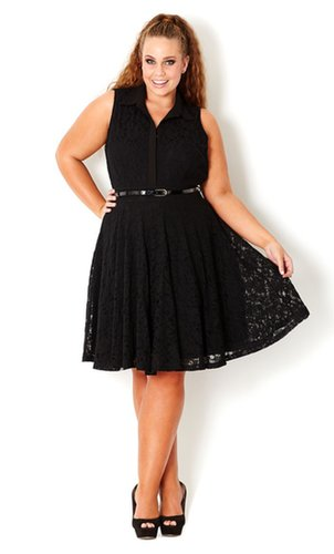 Plus Size Lace Swing Dress - City Chic - City Chic
