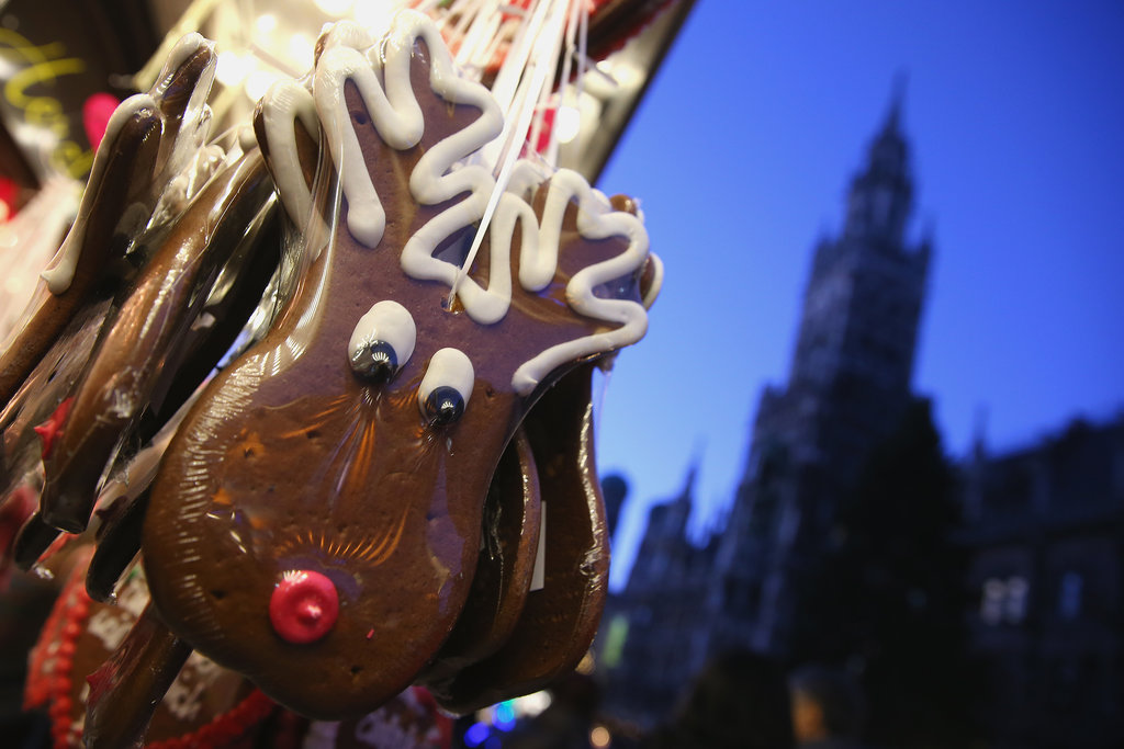 Traditional Christmas gingerbread reindeer were on sale at the annual Christmas market in Munich, Germany.