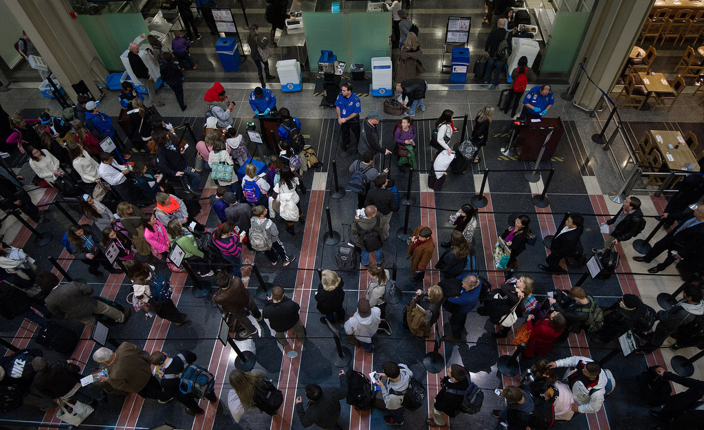 In Washington DC, travelers lined up at security.