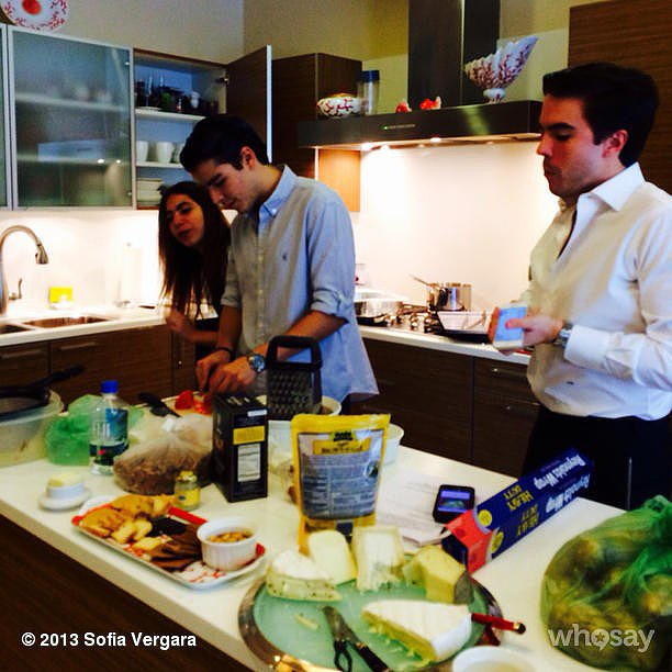 Sofia Vergara put her son, Manolo, to work cooking the day's meal. Source: Instagram user sofiavergara