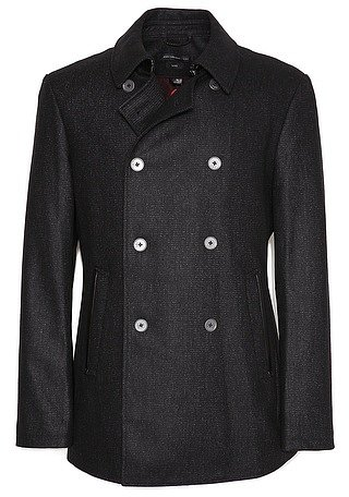John Varvatos Star USA Pea Coat with Leather Trim