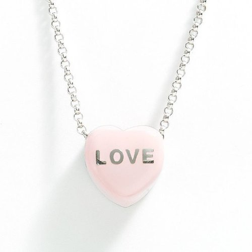 "Sweethearts sterling silver ""love"" pink heart pendant"