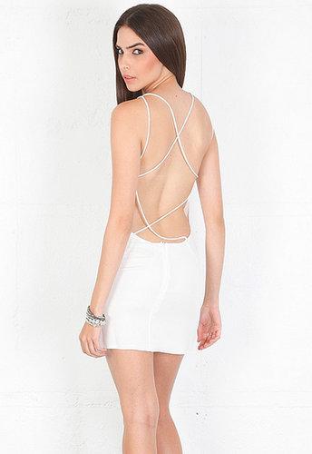 Olcay Gulsen Crossed Back Mini Dress in White