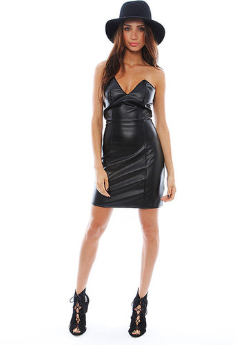 BOULEE Ashton Vegan Leather Dress in Black