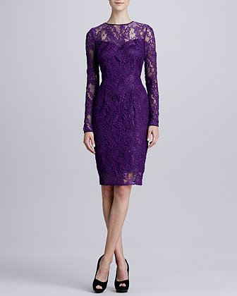 Carmen Marc Valvo Long-Sleeve Lace Cocktail Dress