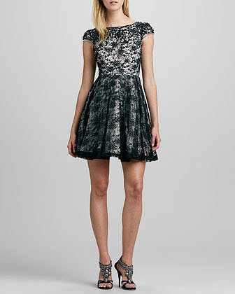 Alice + Olivia Aubree Crystal-Embellished Lace Dress