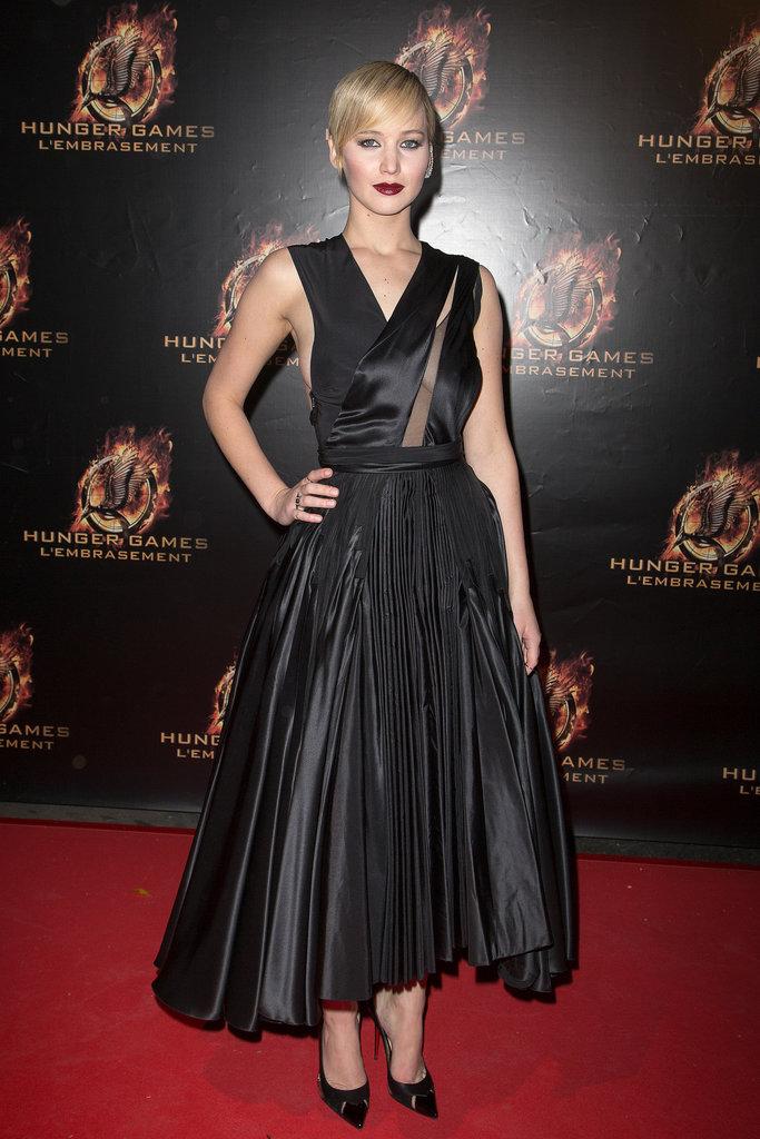 Jennifer Lawrence in Black Dior Haute Couture Dress