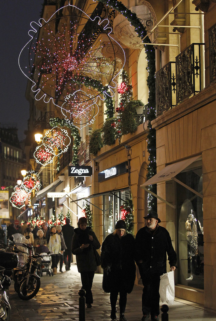 Holiday decorations filled the streets in Paris.