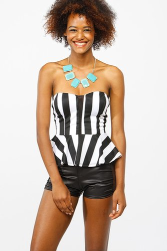 Strapless Striped Peplum Crop @ Cicihot Top Shirt Clothing Online Store: Dress Shirt,Sexy Womens Shirt,T Shirts,Corset Dress,Whi