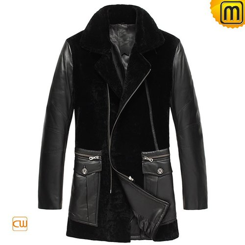 Calfskin Leather Mens Shearling Coat CW877024