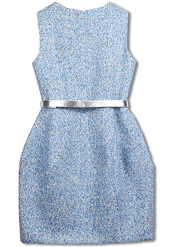 Blue Sleeveless Belt Tweed Pockets Dress - STDRESSES