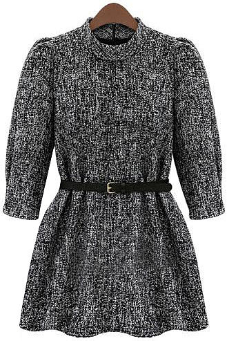 Grey White Stand Collar Half Sleeve Ruffle Tweed Dress