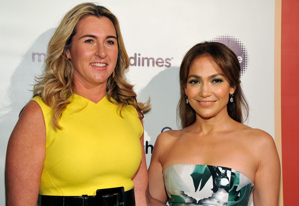 Jennifer Lopez and fellow honoree Nancy Dubuc posed for pictures.