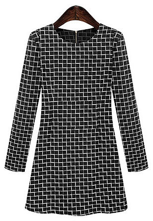 White Black Long Sleeve Plaid Slim Dress - STDRESSES