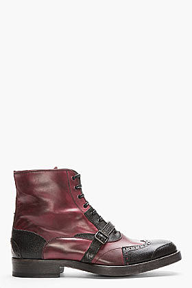 ALEXANDER MCQUEEN Burgundy & Black Half Wingtip Brogue Boots