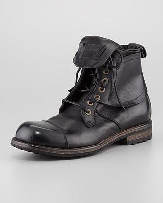Dolce & Gabbana Military Cap-Toe Flap Boot, Black