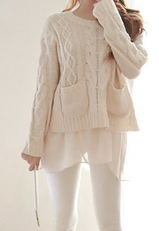 Image of [grzxy6600798]Weave Pattern Crewneck Hollow Out Split Splicng Pockets Loose Sweater
